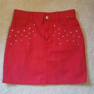 Gymboree girls red denim skirt with sparkles sz 10